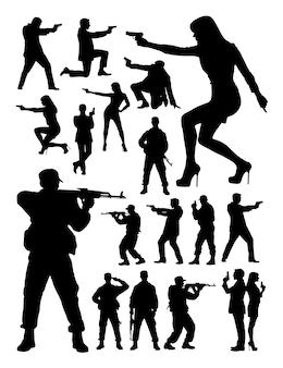 Spezialagent und soldat silhouette
