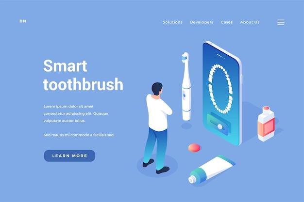 Spezialisierte intelligente zahnbürste elektrobürste mit zahnfleischmassage und steuerung über mobile anwendung
