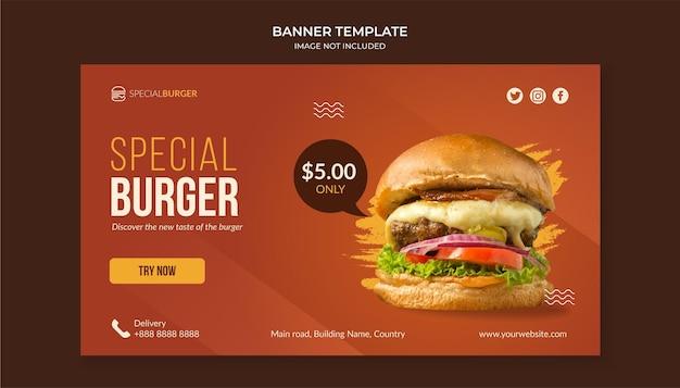 Spezielle burger-banner-vorlage für fast-food-restaurant