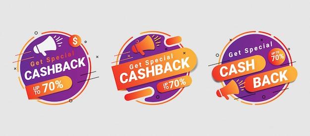 Spezielle cashback-bannersammlung mit kreisform