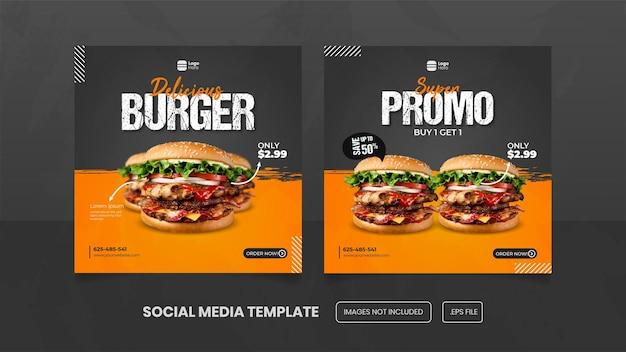 Spezielle köstliche burger-social-media-banner-post-vorlage premium eps