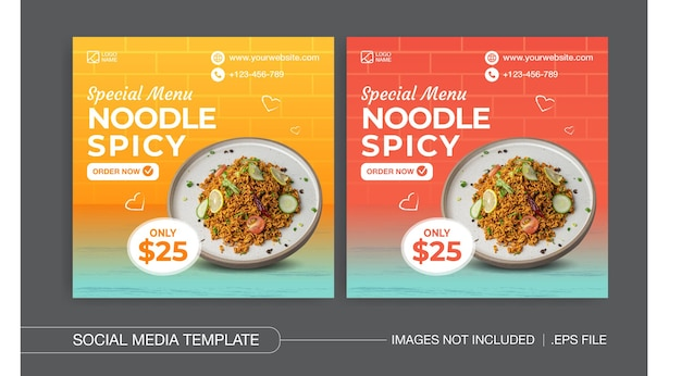 Spezielle menünudelsocial media posts design