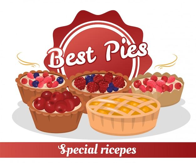 Spezielle rezepte für die beste pasteten-bäckerei-werbung