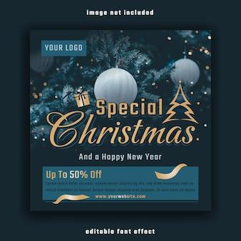 Spezielle social-media-banner-vorlage für weihnachten und ein frohes neues jahr