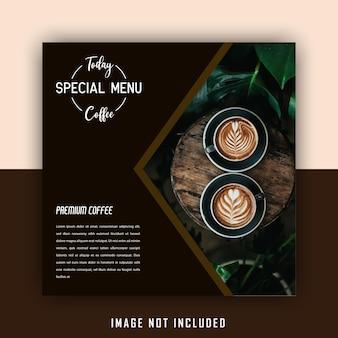 Spezielle social-media-beitragsvorlage für braune getränke-cafés