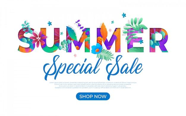 Spezielle sommerschlussverkauf-fahnenschablone