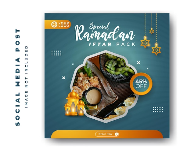 Spezielle speisekarte restaurant ramadan kareem iftar für social media post vorlage