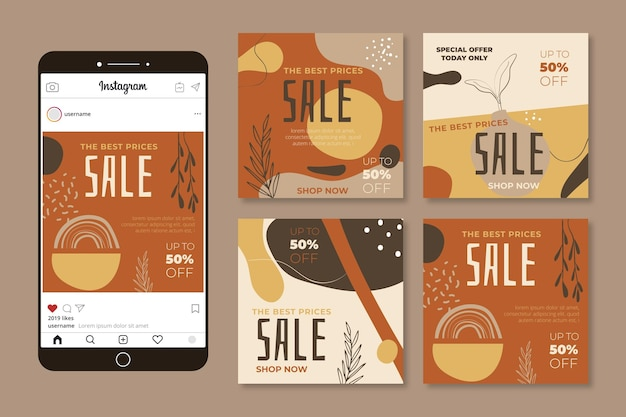 Spezielle verkaufs-instagram-posts mit naturornamenten