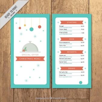 Spezielle weihnachtsmenü in flaches design
