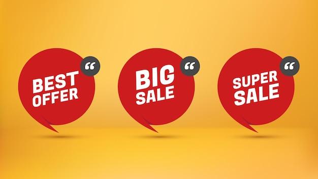 Spezieller aufkleber für einzelhandelswerbung. bestes angebot. groß verkaufen. super verkaufen. rote sprechblase im papierstil