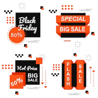 Spezieller black friday-orange fahnen-gesetzter vektor