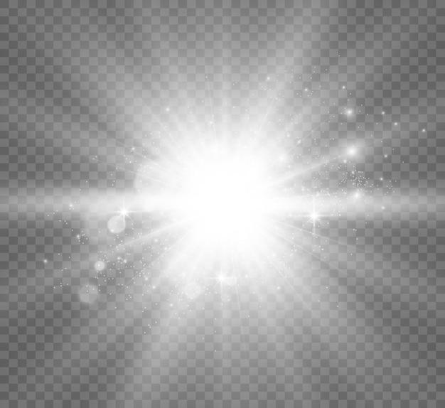 Spezieller linsenblitzlichteffekt der blitz blitzt strahlen und suchscheinwerfer illustweißes leuchtendes licht