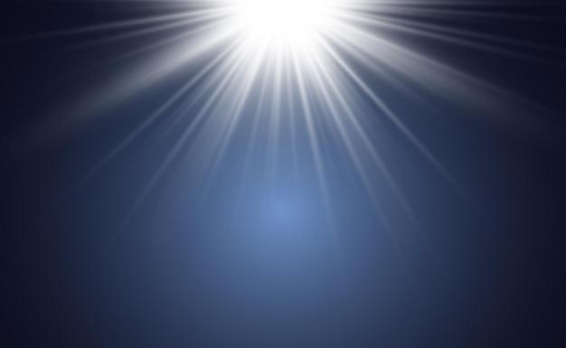 Spezieller linsenblitzlichteffekt der blitz blitzt strahlen und suchscheinwerfer illustwhite glühend