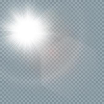 Spezieller linseneffekt des abstrakten transparenten sonnenlichts. glühen blendung.