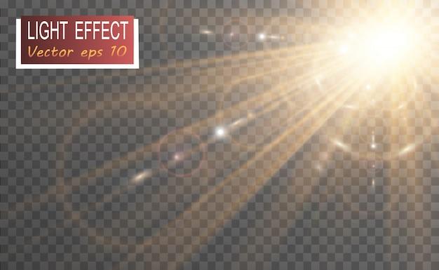 Spezieller objektivblitz, lichteffekt. blitz blinkt strahlen und suchscheinwerfer.