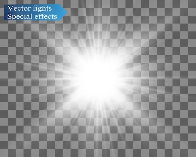 Spezieller objektivblitz, lichteffekt. der blitz blinkt strahlen und suchscheinwerfer. weiß leuchtendes licht. schöner stern licht von den strahlen. die sonne ist von hinten beleuchtet. heller schöner stern. sonnenlicht. blendung. Premium Vektoren