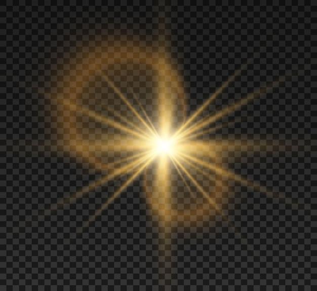 Spezieller objektivblitz, lichteffekt. der blitz blinkt strahlen und suchscheinwerfer. weiß leuchtendes licht.