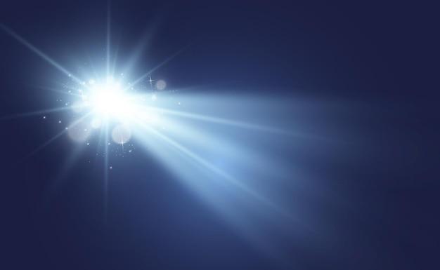 Spezieller objektivblitz, lichteffekt. der blitz blinkt strahlen und suchscheinwerfer.