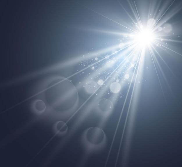 Spezieller objektivblitz, lichteffekt. die blitzstrahlen leuchten.