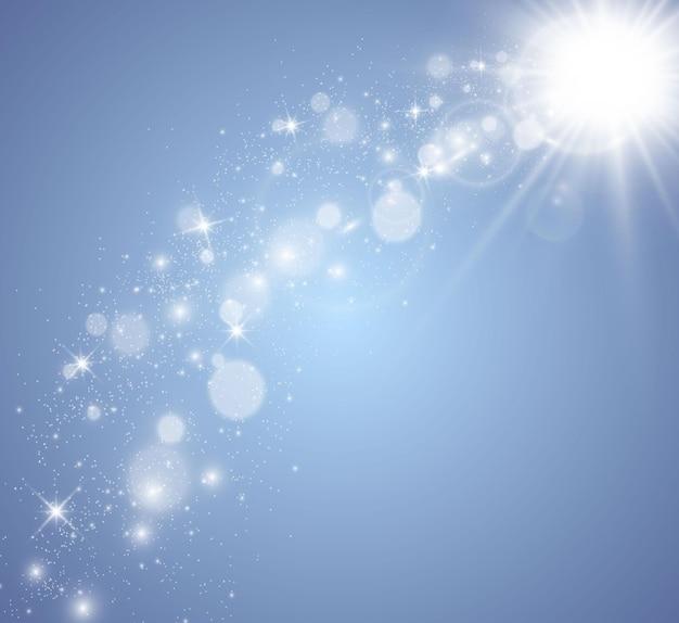 Spezieller objektivblitz, lichteffekt. heller schöner stern. sonnenlicht. blendung.