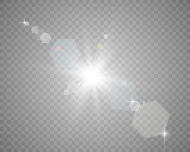 Spezieller objektivblitz, lichteffekt. licht von den strahlen.