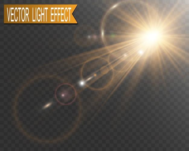 Spezieller objektivblitz, lichteffekt. sonnenlicht. blendung.