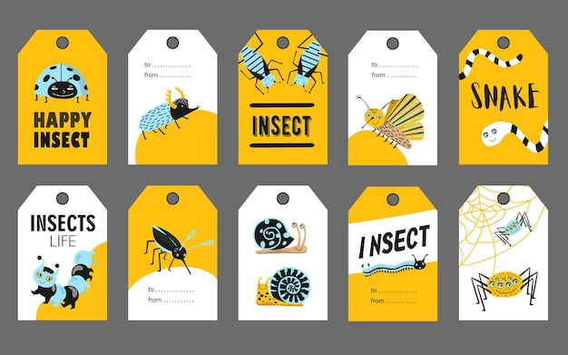 Spezielles tag-schablonenset mit glücklichen insekten.