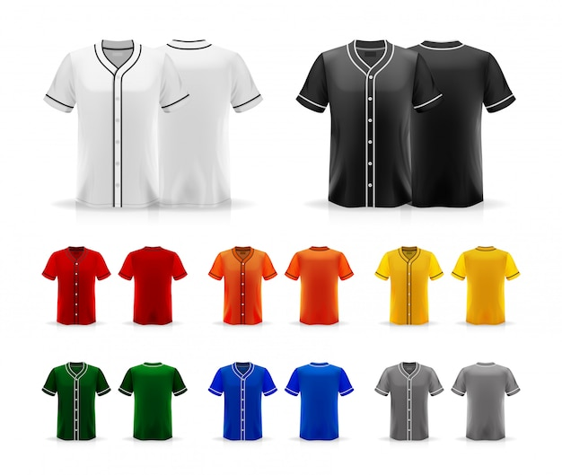 Spezifikation baseball t shirt isoliert auf weißem hintergrund, leerraum auf dem shirt für die und platzierung von elementen oder text auf dem shirt, leer für druck, illustration