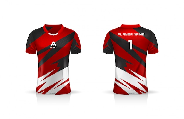 Spezifikation fußball sport, esport gaming t-shirt jersey vorlage. uniform .