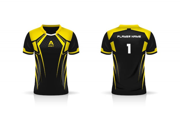Spezifikation fußball sport, esports gaming t-shirt trikot vorlage. uniform . illustration