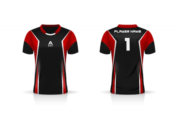 Spezifikation fußball sport, esports gaming t-shirt trikot vorlage. uniform . illustrationsdesign