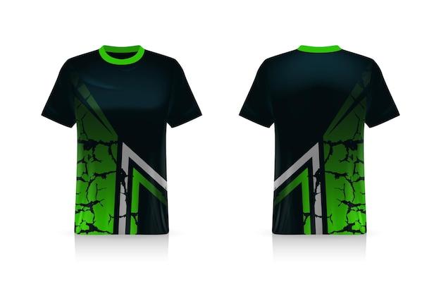 Spezifikation fußball-sportmodell, esports gaming t-shirt jersey-vorlage. uniform verspotten. vektorillustrationsdesign