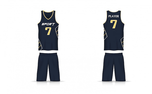 Spezifikation korb jersey vorlage. sport t-shirt v-ausschnitt uniform.