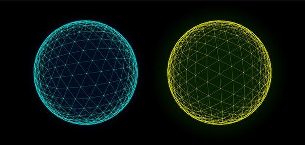 Sphären von punkten und linien hintergrund. hud-element. sci-fi planet earth-vorlage für heads-up-anzeige. geometrie mathematik illustration. punktekreise mit schärfentiefe.