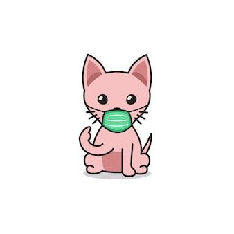 Sphynxkatze der karikaturfigur, die schützende gesichtsmaske trägt