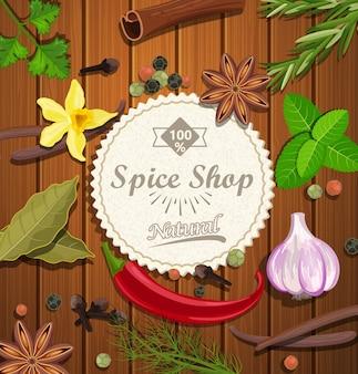 Spice shop papier emblem.