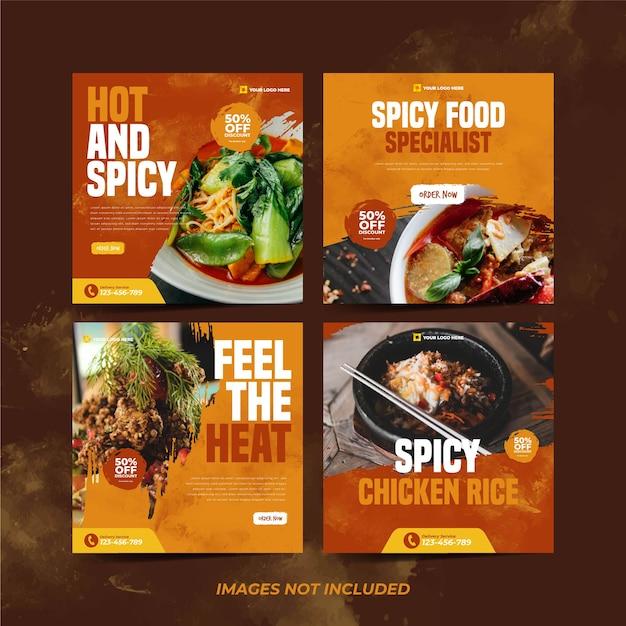 Spicy food instagram-vorlage für social media-werbevorlage