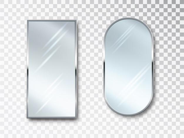 Spiegel isoliert eingestellt. metallrahmen für dekor. realistisches 3d-design