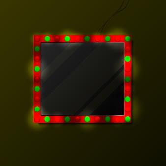 Spiegel mit make-up lampen in der dunkelheit.