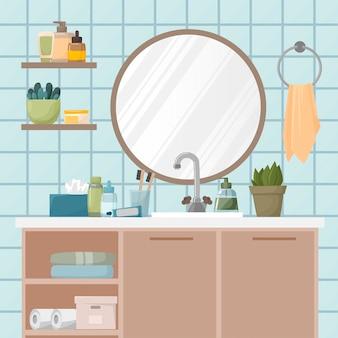 Spiegel und kleiderschrank mit regalen im bad. zahnpasta, zahnbürsten, seife, hautpflegeprodukte, tücher und handtücher. pflanzen im badezimmer. eben