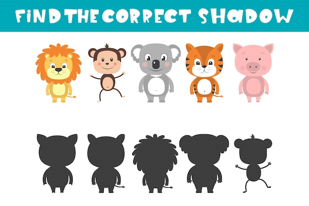 Spiegelbild von fünf verschiedenen tieren. aufgabe finde den richtigen schatten.