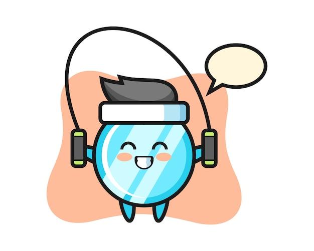 Spiegelcharakter-karikatur mit springseil