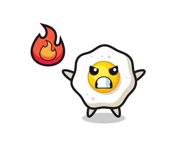 Spiegelei-charakterkarikatur mit wütender geste, süßes design für t-shirt, aufkleber, logo-element