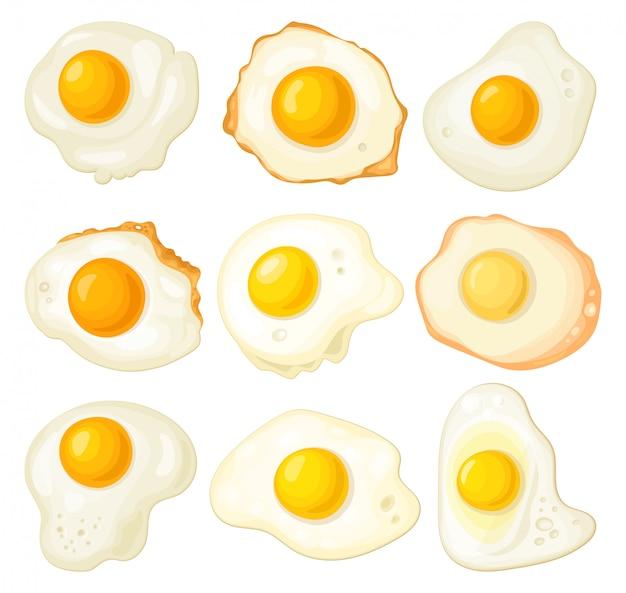 Spiegelei isolierte karikatursatzikone. cartoon set icon protein von gelb.