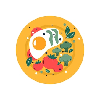 Spiegeleier auf dem teller zum frühstück mit tomate und brokkoli. handgezeichnete trendige vektorgrafiken. cartoon-stil. flaches design.