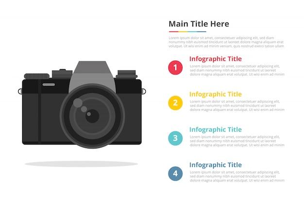 Spiegelfreie kamera infografik vorlage mit 4 punkten