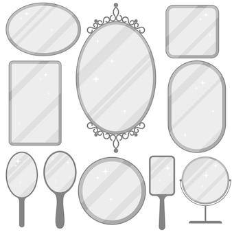 Spiegelset, realistische spiegelrahmensammlung, verschiedene formen mit reflexion, rund, rechteckig, ellipse.