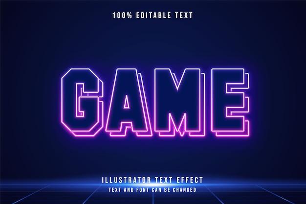 Spiel, 3d bearbeitbarer texteffekt blaue abstufung rosa moderner futuristischer neonstil