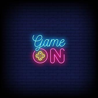 Spiel auf neonzeichen stil text