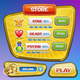 Spiel-benutzeroberfläche. bildschirm mit prämien- und leistungssymbolen speichern. .